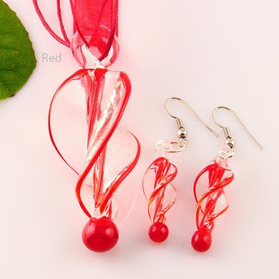 Twist lampadario pendente in vetro murano soffiato ciondolo collane e orecchini gioielli set Mus007 gioielli artigianali