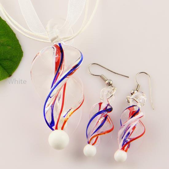 Twist lampwork hanger geblazen Murano glazen hanger kettingen en oorbellen sieraden sets Mus 007 handwerk sieraden
