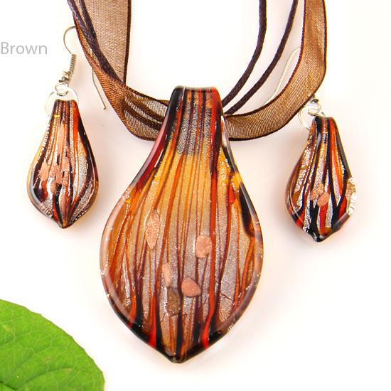 Leaf sliver foil glitter lampwork pendant venetian murano glass pendants necklaces and earrings sets cheap china fashion jewelry Mus008