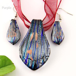 Wholesale Wholesale Gifts Jewellery - leaf sliver foil murano lampwork blown venetian glass necklaces pendants and earrings sets Mus008 handmade jewellery