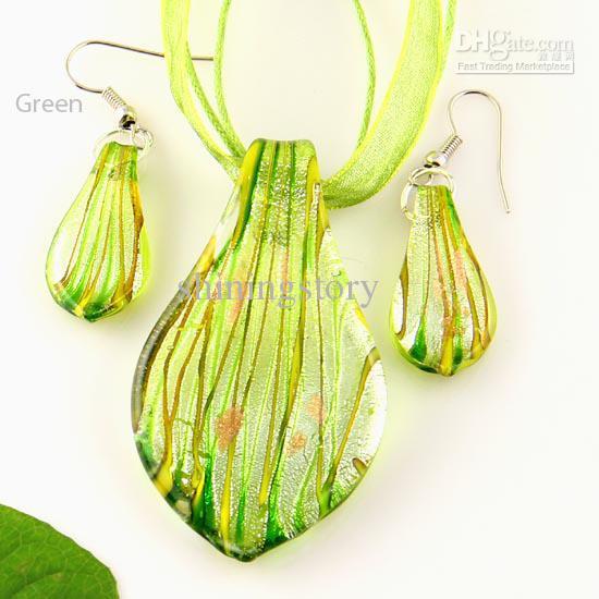 leaf sliver foil murano lampwork blown venetian glass necklaces pendants and earrings sets Mus008 handmade jewellery