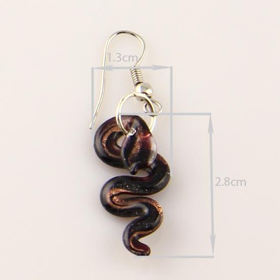 뱀 반짝이 무라노 Lampwork 펜던트 베네치아 무라노 유리 펜던트 목걸이 및 귀걸이 쥬얼리 저렴한 패션 주얼리 MUS005
