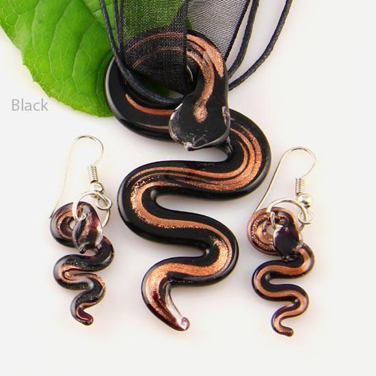 Snake Glitter Murano Lampwork Blown Venetiaans Glazen Kettingen Hangers en Oorbellen Sieraden Sets Mus 005 Mode Kettingen Hangers