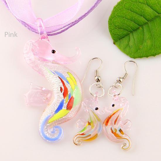 new Seahorse sliver foil murano lampwork pendant venetian glass pendants necklaces and earrings sets Mus006 handmade jewellery
