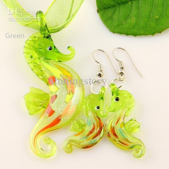 새로운 seahorse 은색 호 일 무라노 lampwork 펜던트 베네 치안 유리 펜던트 목걸이와 귀걸이 세트 Mus006 수제 보석