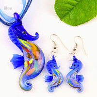 Wholesale Glass Seahorse Pendant - Seahorse sliver foil murano lampwork pendant venetian glass pendants necklaces and earrings sets Mus006 handmade jewellery