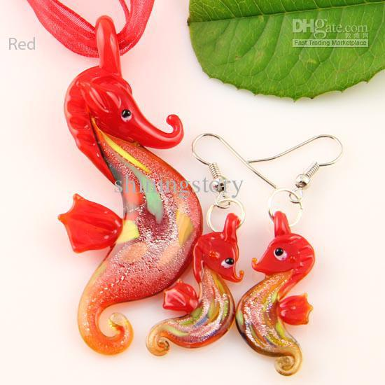 Ny Seahorse Sliver Folie Murano Lampwork Pendant Venetian Glass Pendants Halsband och örhängen sätter MUS006 Handgjorda smycken