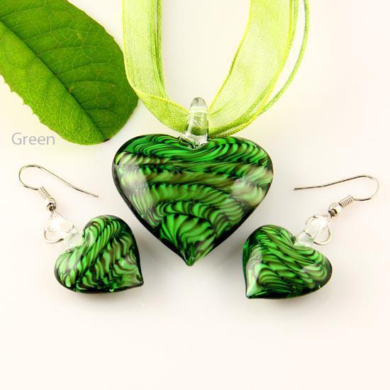 Colgante clásico Corazón lampwork colgante veneciano cristal de murano colgantes collares y pendientes conjuntos de joyas Mus009 Joyas de moda