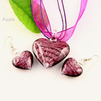 Wholesale Murano Glass Heart Necklace Sets - Classic Heart lampwork pendant venetian murano glass pendants necklaces and earrings jewellery sets Mus009 Fashion jewellery