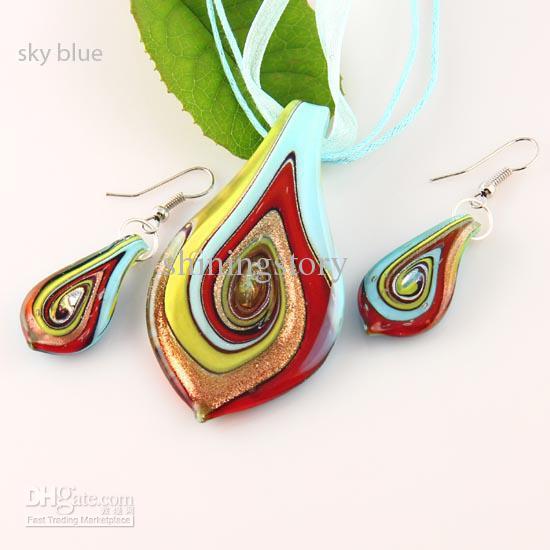 葉のキラキラのランプワークペンダント吹き付けベネチアンムラノガラスペンダントネックレスとイヤリングジュエリーの宝石類の宝石類の宝石類