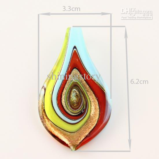 Pendentif en forme de feuille de paillettes en verre soufflé vénitien en verre de Murano soufflé Colliers et boucles d'oreilles Bijoux Bijoux artisanaux Mus011