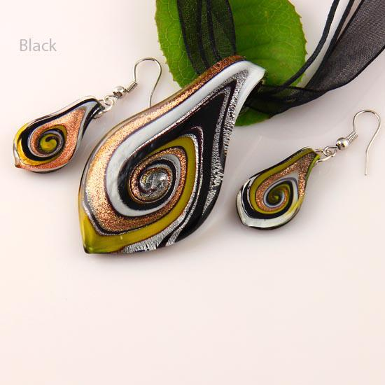 Leaf glitter lampwork pendants murano handmade glass pendants necklaces and earrings sets Mus011 cheap fashion jewelry