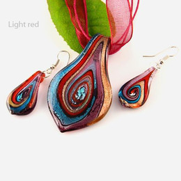 Wholesale Wedding Gifts Jewellery - Leaf glitter lampwork pendants blown venetian murano glass pendants necklaces and earrings jewellery Mus011 handcraft jewelry