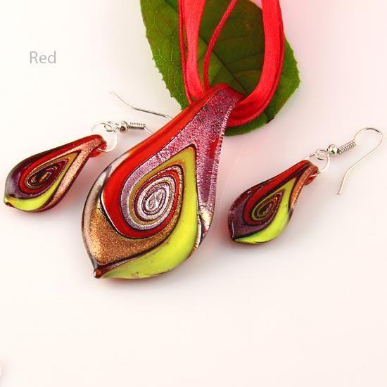 Ładny liść Murano Lampwork Dmucha Venetian Szkło Naszyjniki Wisiorki i Kolczyki Zestawy Biżuteria Mus011 Tanie Moda Biżuteria