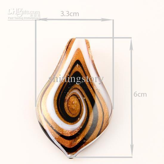 hoja brillo lampwork colgante veneciano cristal de murano colgantes collares y pendientes joyería Mus010 joyería de moda a granel