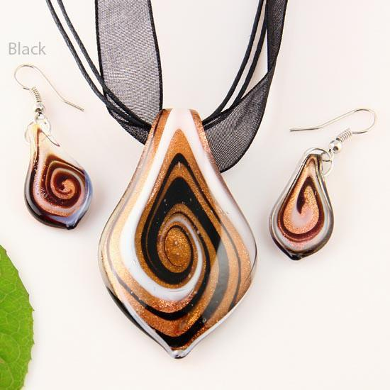 Scroll leaf glitter lampwork pendant venetian murano glass pendants necklaces and earrings jewellery Mus010-7 fashion jewelry necklaces