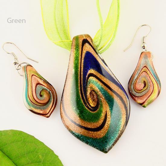 Blättern Sie Blatt Glitter Lampwork Anhänger venezianischen Murano Glas Anhänger Halsketten und Ohrringe Schmuck Mus010-7 Modeschmuck Halsketten