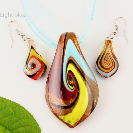 Scroll leaf glitter murano lampwork blown venetian glass necklaces pendants and earrings sets Mus010 fashion jewelry necklaces
