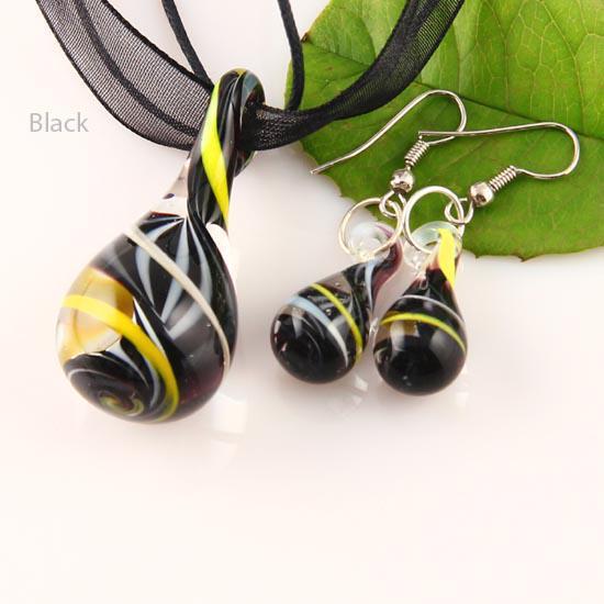 Black White Twist Handmade Lampwork Murano Glass Pendant Necklace Earrings Set