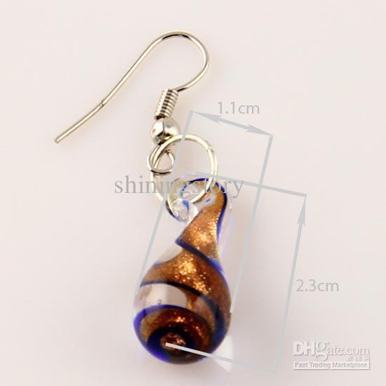 Tear drop glitter murano lampwork blown venetian glass necklace pendants and earrings jewellery sets Mus013 fashion necklaces pendnats