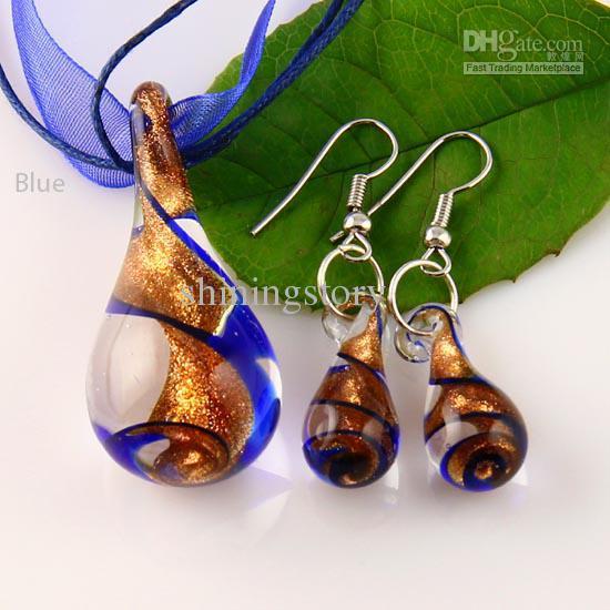 teardrop glitter lampwork pendant venetian murano glass necklaces pendants and earrings sets Mus013 cheap fashion jewellery