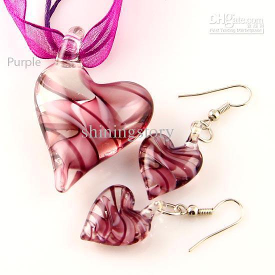 новое сердце закрученный lampwork Венецианский муранского стекла подвески ожерелья и серьги ювелирные наборы Mus014 ручной работы ювелирные изделия