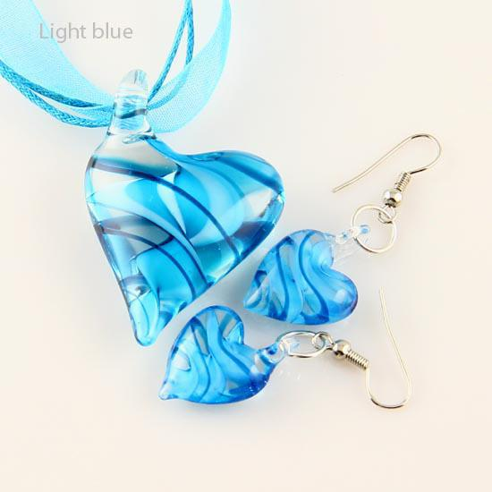 best selling new Heart swirled lampwork venetian murano glass pendants necklaces and earrings jewellery sets Mus014 handmade fashion jewelry