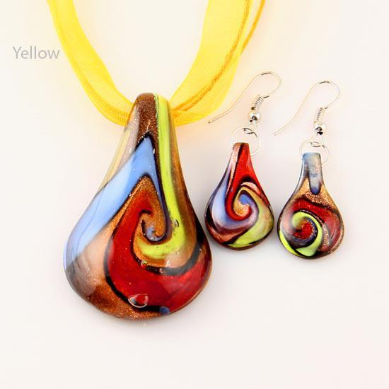 leaf glitter murano lampwork blown venetian glass necklaces pendants and earrings jewelry sets Mus017 fashion jewelry in bulk