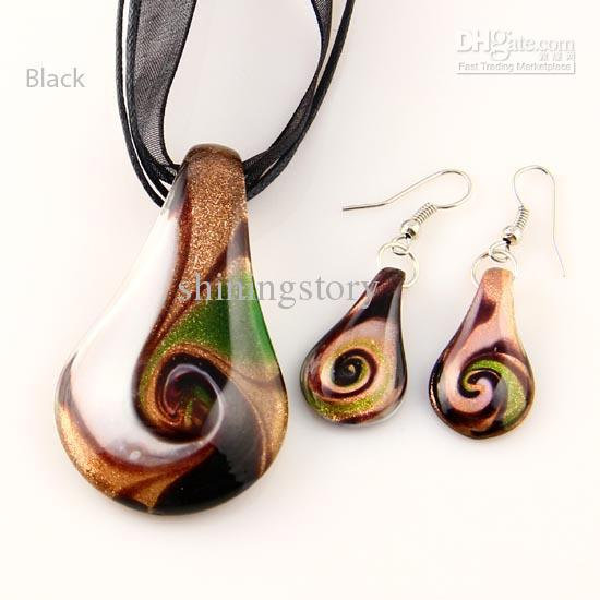 feuille paillettes murano verre soufflé colliers en verre vénitien soufflé et boucles d'oreilles ensembles de bijoux Mus017 bijoux de mode en vrac