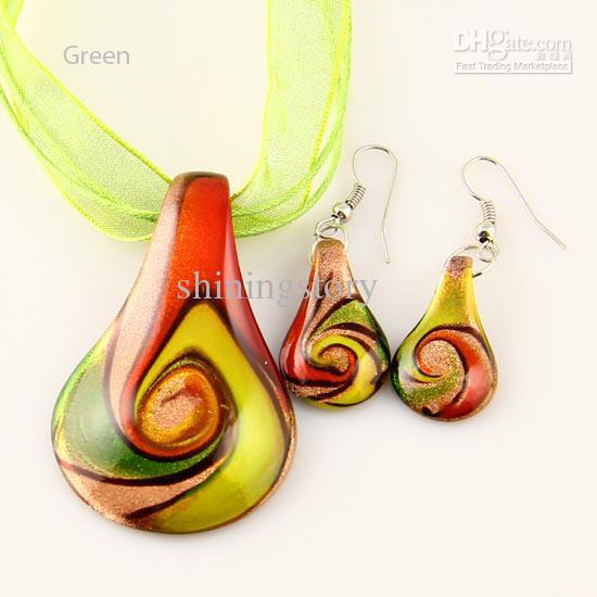 Leaf glitter lampwork pendant venetian murano glass pendants necklaces and earrings sets Mus017 Cheap fashion jewelry