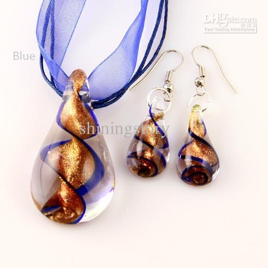 Ciondolo lampwork a goccia in vetro soffiato a mano con pendenti in vetro di murano veneziano collane e orecchini Set di gioielli alla moda Mus018