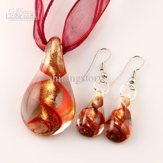 Teardrop Glitter Lampwork Anhänger geblasen venezianischen Murano Glas Anhänger Halsketten und Ohrringe Sets Modeschmuck in loser Schüttung Mus018