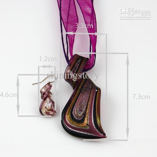 streamer glitter murano lampwork venezianischen glas halsketten anhänger und ohrringe setzt Mus023 handcarft schmuck