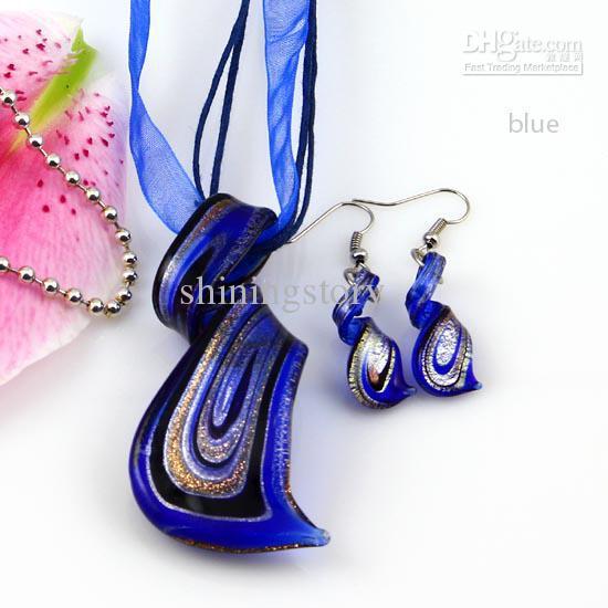 Streamer glitter murano lampwork blown venetian glass necklaces pendants and earrings jewelry sets handmade fashion jewelry Mus023
