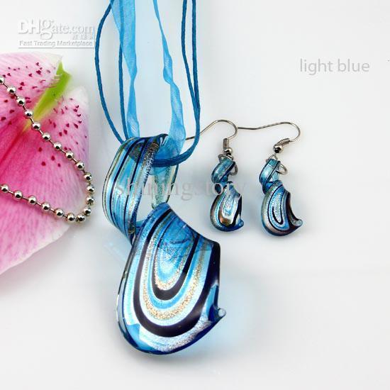 유영 반짝이 murano lampwork 날린 베네치아 유리 목걸이 펜던트와 귀걸이 쥬얼리 세트 수제 패션 쥬얼리 Mus023