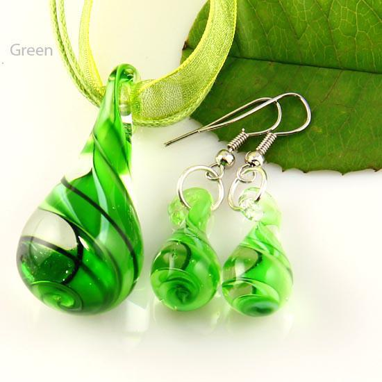 Tear Drop Twist Murano geblasen venezianischen Glas Halsketten Anhänger und Ohrringe Schmuck Sets Mus012 Mode Jewerly Sets