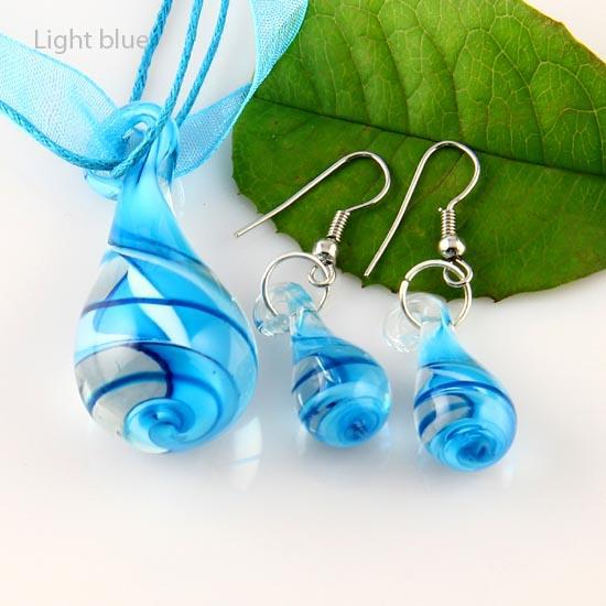 Lágrima de la gota Torcedura de murano soplado de cristal veneciano collares colgantes y pendientes conjuntos de joyas Mus012 conjuntos de joyas de moda