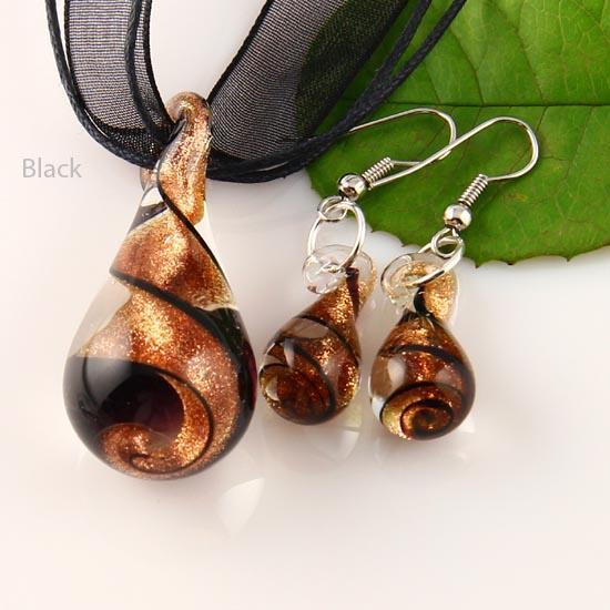 larme scintillant pendentif lampwork vénitien verre de murano colliers pendentifs et boucles d'oreilles définit Mus013 bijoux de mode pas cher