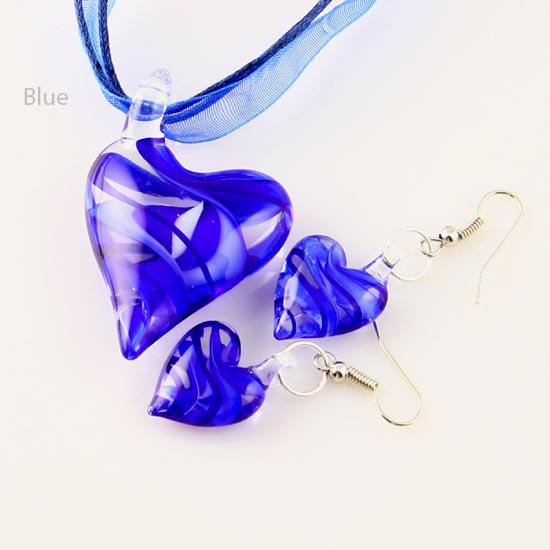 Heart swirled lampwork venetian murano glass pendants necklaces and earrings jewellery sets Mus014 High fashion jewelry