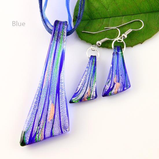 Murano glas hängsmycken silverfolie lampor pendant blåst halsband och örhängen sätter mode smycken i bulk mus015