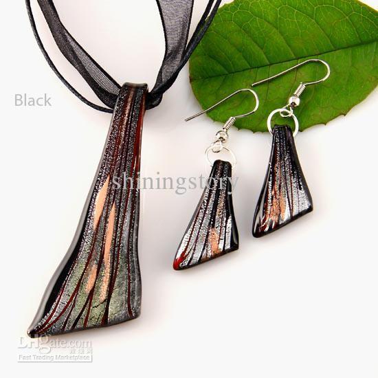 Murano glazen hangers zilveren folie lampwork hanger geblazen kettingen en oorbellen sets mode-sieraden in bulk Mus015