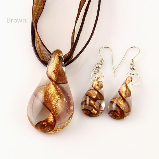 Teardrop glitter lampwork pendant blown venetian murano glass pendants necklaces and earrings sets Fashion jewelry in bulk Mus018