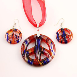 Wholesale Engagement Signs - Peace sign sliver foil lampwork blown venetian murano glass pendants necklaces and earrings jewelry Mus019 Cheap fashion jewelry