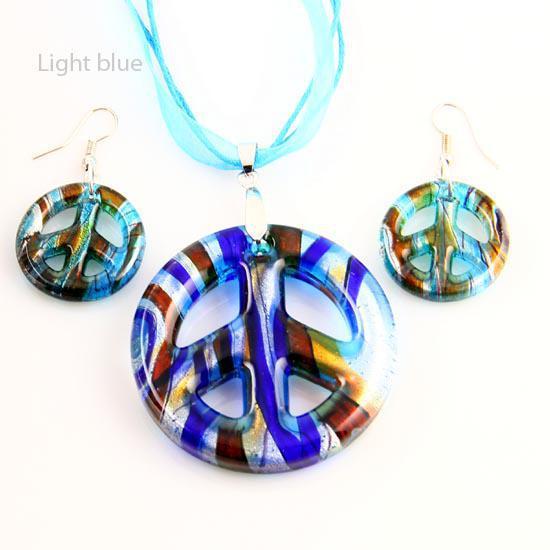 Yeni Barış burcu şerit folyo lampwork şişmiş venedik murano cam kolye kolye ve küpe setleri Mus019 ucuz moda jewerly