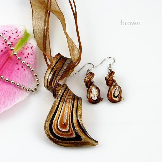 Streamer glitter murano lampwork blåst venetianska glas halsband hänger och örhängen smycken uppsättningar handgjorda mode smycken mus023