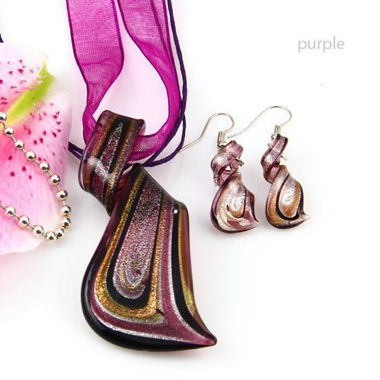Streamer Glitter Murano Lampwork geblasen venezianischen Glas Halsketten Anhänger und Ohrringe Schmuck Sets handgefertigte Modeschmuck Mus023