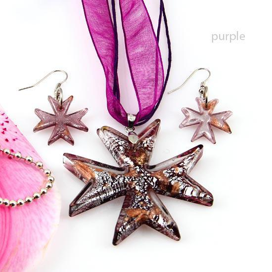 Fancy cross murano lampwork blown venetian glass necklaces pendants and earrings jewelry sets