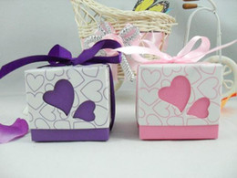 Wholesale Jewelry Boxes Favors - 100 pcs Hollowed Heart Candy Box Romantic Wedding Favors Jewelry Gift boxes Pink   Purple with Ribbon