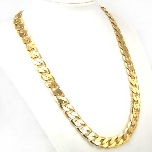 2018 Gorgeous Jewelry Men 24k Yellow Gold Gp Solid Fill Necklace