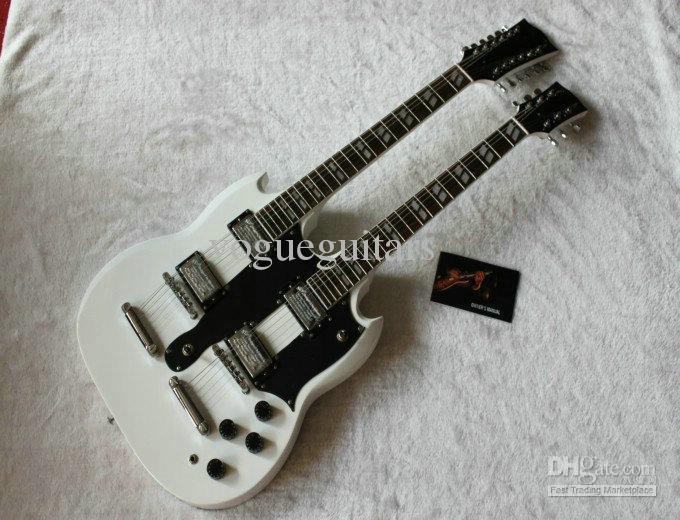 Ny anlänt dubbel hals 1275 vit elektrisk gitarr 6 sträng och 12 sträng {Toppsäljare}